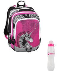 Školní batoh ALFA 8 B Pink black white c95e3e946f