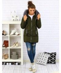 a57639841ed9 BASIC Dámska olivová zimná bunda s kapucňou (ty0096)
