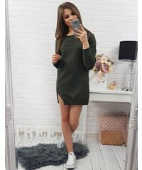 BASIC Dámské zelení šaty s dlouhým rukávem (ey0151) 1a56d58f2b