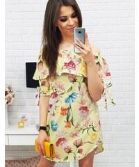BASIC Dámské žluté šaty s květinami (ey0306) 260965d514