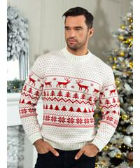 f2b681159b2 MODANOEMI Pánský bílý vánoční svetr SP2018B