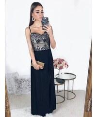 ZAZZA Dlhé čierno-telové šaty na ramienka b0638355199