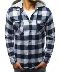3087e3df2f6a Dstreet Pánska kockovaná bielo-tmavomodrá košeľa