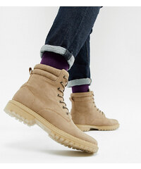 ASOS DESIGN lace up worker boots in stone faux suede with transparent  cleated sole - Stone c4940b0154d