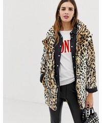 QED London leopard faux fur coat - Tan black 6c3ddfa5dd
