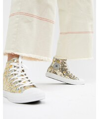 Converse Chuck Taylor All Star hi silver and gold sequined trainers - Pure  silver 054deaac17