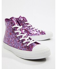 eb91ea16b096 Converse Chuck Taylor All Star hi purple sequined trainers - Icon violet