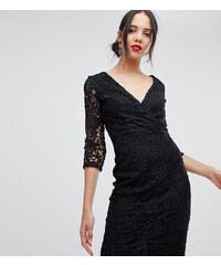 95edd4c09f Paper Dolls Tall crochet lace wrap front pencil dress in black - Black