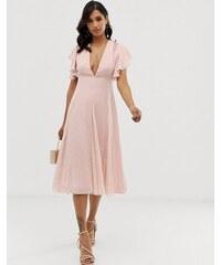 ASOS DESIGN midi dress with lace godet panels - Blush ea68ce2641