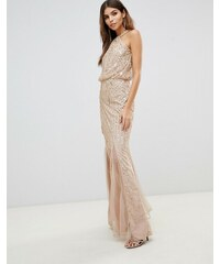 559b13c4356 Lipsy twist neck sequin maxi dress in gold - Gold