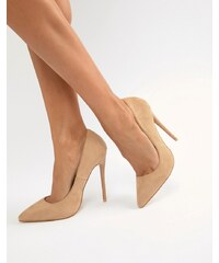 PrettyLittleThing faux suede high heeled court shoe in camel - Nude 74c5cd255d