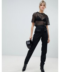 27e18574592 PrettyLittleThing cargo pocket detail straight leg trousers in black - Black