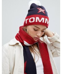 202fdd0087 Tommy Jeans glitter logo beanie with faux fur bobble - Corporate
