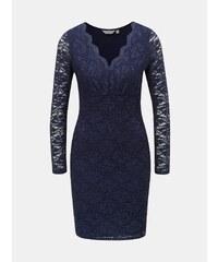 Tmavě modré krajkové šaty se třpytivým efektem Dorothy Perkins Petite c4415ffbec