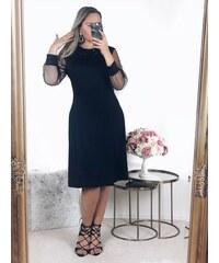 ZAZZA Čierne šaty s dlhým rukávom a trblietavým golierom 3f856510b75