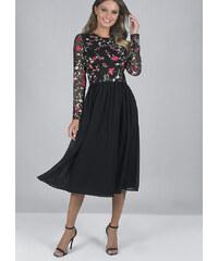 Černé společenské šaty s výšivkou Chi chi London Fatima 20ce9196f0