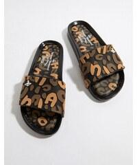 Vivienne Westwood for Melissa Vivienne Westwood Leopard Sliders - Black  contast 8f41161e43