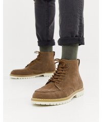 boohooMAN lace up boots with contrast sole in stone - Stone 32985d402f0
