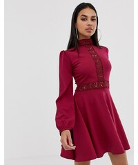 0f2ad7e4269 PrettyLittleThing skater mini dress with lace panel detail in burgundy -  Burgundy