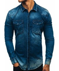 2b85094cea4 Tmavě modrá pánská džínová košile s dlouhým rukávem Bolf 2063