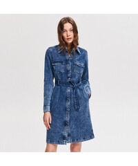 Reserved - Džínové košilové šaty - Modrá beaa8f3457