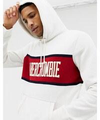 Abercrombie   Fitch chest stripe logo hoodie in white red - White red stripe b2e9ea400e0