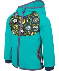 8f6aa2cbbd5 Dětská softshellová bunda s fleecem UNUO New kočka pes Smaragdová ( NEW Unuo  softshell jacket printed