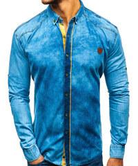 Modrá pánská džínová košile s dlouhým rukávem Bolf RL15 f11b1e9cd0