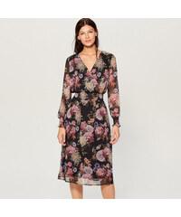 Mohito - Šifonové květované šaty - Černý 67c8b8153d3