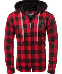 OZONEE ZAZ 1167 Pánská Košile Černo-Červená 2fca007bfc