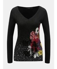 ad646417ef39 Čierny tenký sveter s motívom kvetov Desigual Paty
