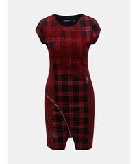 Čierno–červené kockované puzdrové šaty s ozdobnými zipsami Desigual Roma 58db1a62d44