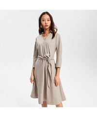 Reserved - Áčkové šaty so zaväzovacím opaskom - Béžová 92323493539