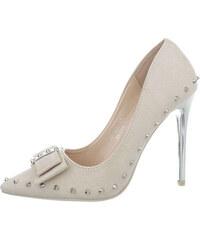 FashionFrey Dámské vysoké podpatky na podpatku - béžový ab871b56ce