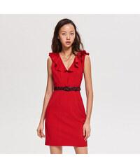 efbf08f8dd2 Reserved - Šaty s volánem u výstřihu - Červená