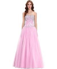 8a1ece808d1 Krásné růžové tylové plesové společenské šaty s bohatě zdobeným korzetem
