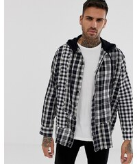 a9fd6de6a75f Diesel S-Michi oversized shirt with hood in check - Black
