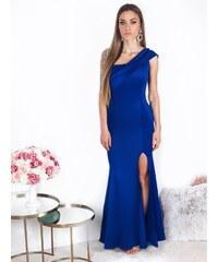 ZAZZA Dlhé spoločenské šaty cez jedno v modrej 38790b9e181