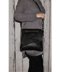 d61a4a6b69 Talianske kožené kabelky dámske cez rameno stredné čierne Olina