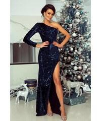 c79d0d32ea1 Perfect Lesklé šaty s flitry na jedno rameno s rozparkem na noze