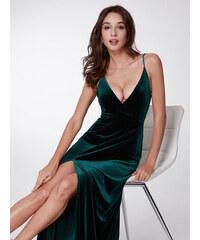 Ever-Pretty Tmavě zelené sametové šaty se špagetovými ramínky 8dbf9278cf
