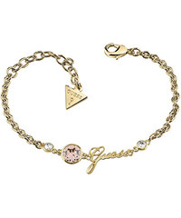 Guess Pozlacený fashion náramek s růžovým krystalem a nápisem UBB83027-S 01ca5540ae2