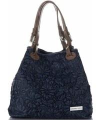 85d1ef72a Univerzální kožená italská kabelka v květinovém vzoru Vittoria Gotti Tmavě  Modrá