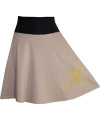 Radka Kudrnová Letní hnědá dlouhá sukně. Detail produktu. Radka Kudrnová  Béžová těhotenská sukně s výšivkou zlaté vločky f836202e6e