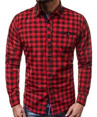 eed9aa0b0c3 Červená pánská kostkovaná košile ZAZZONI 9440