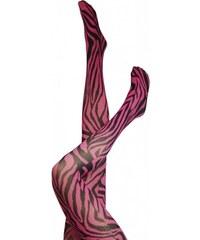 Dámské punčocháče Zebra / Legwear - černá/růžová
