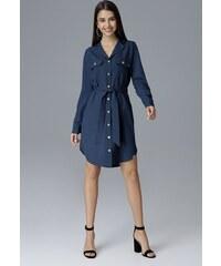FIGL Modré šaty ve stylu košile M630 Navy 3ccf795bfad