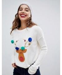 Brave Soul reindeer christmas jumper with pom poms - Cream white 23585537ff
