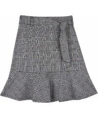 85be97e09171 Top Secret dámská kostkovaná krátká sukně s volánem šedá