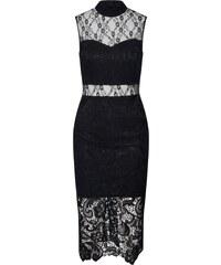 Missguided Koktejlové šaty  High Neck Sleeveless Lace and Crochet Dress   černá 63a65475f4b